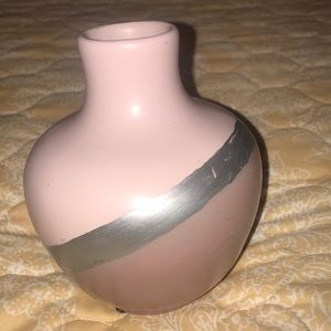 Pink and silver flower vase